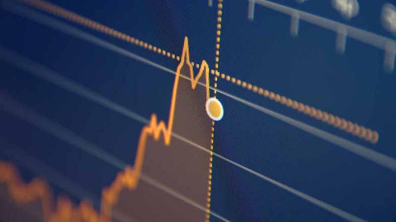 Stock market chart on a computer screen.