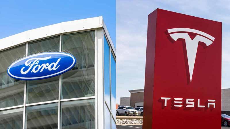 Ford dealership; Tesla service center.