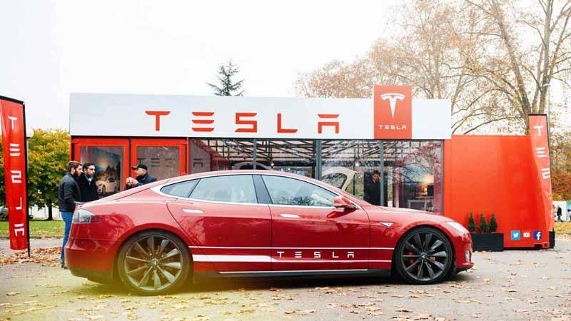 Tesla showroom in Paris, France.