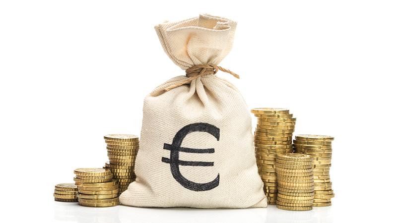 A bag of Euro coins.