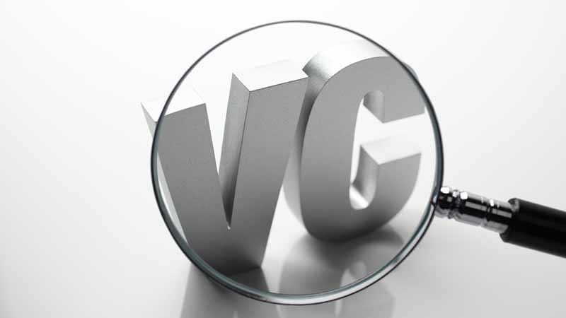 Magnifying glass enhancing 'VC.'