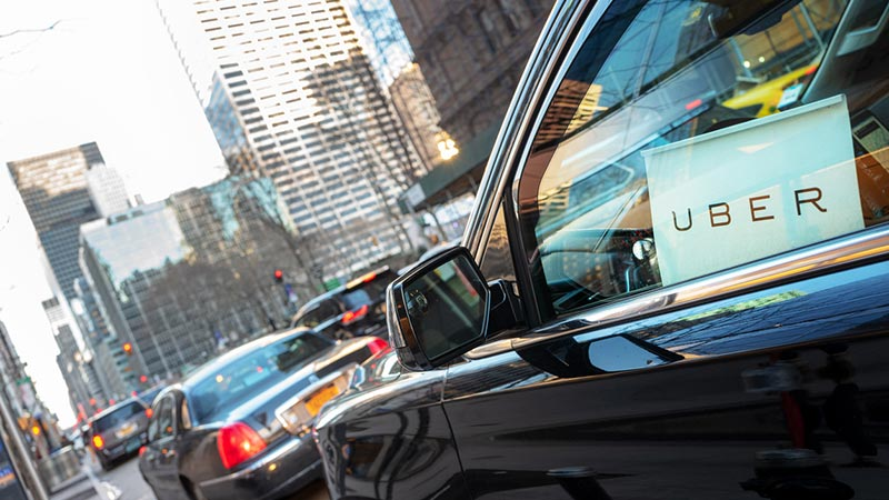 An Uber car in New York City.