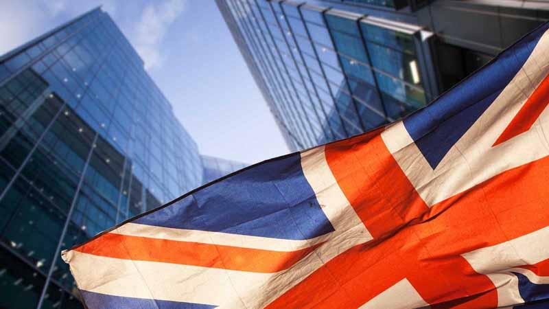 UK flag among London skyscrapers.