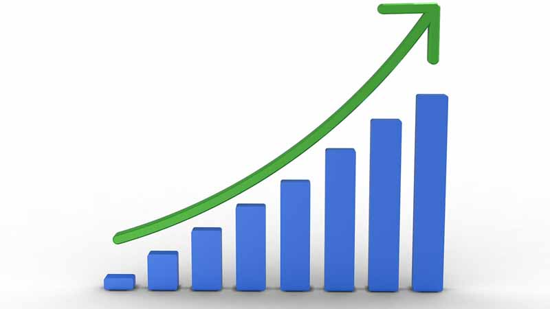 An upward trending bar graph.