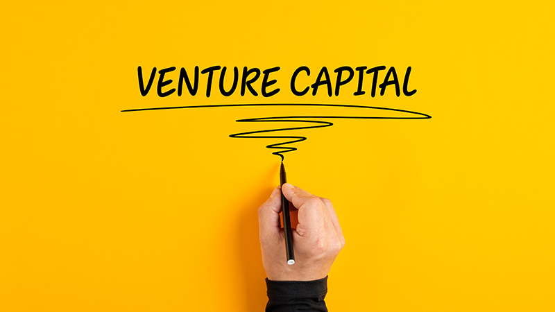Person writing 'Venture Capital' on a yellow background.