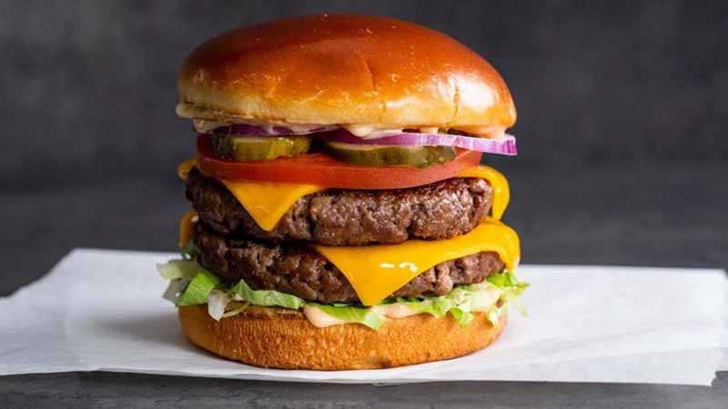 A burger from Stand-Up Burgers.