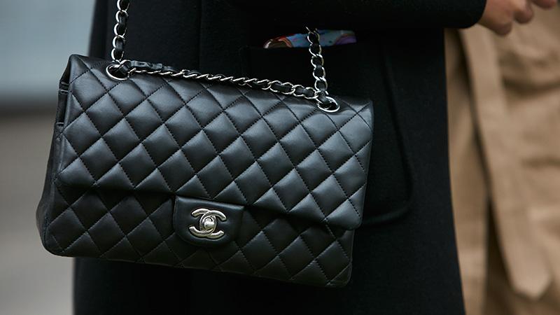 A black Chanel bag.