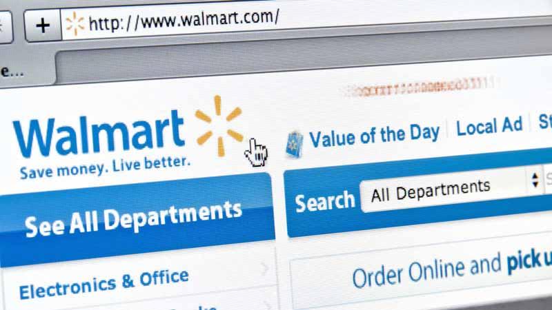 Closeup of the Walmart website.