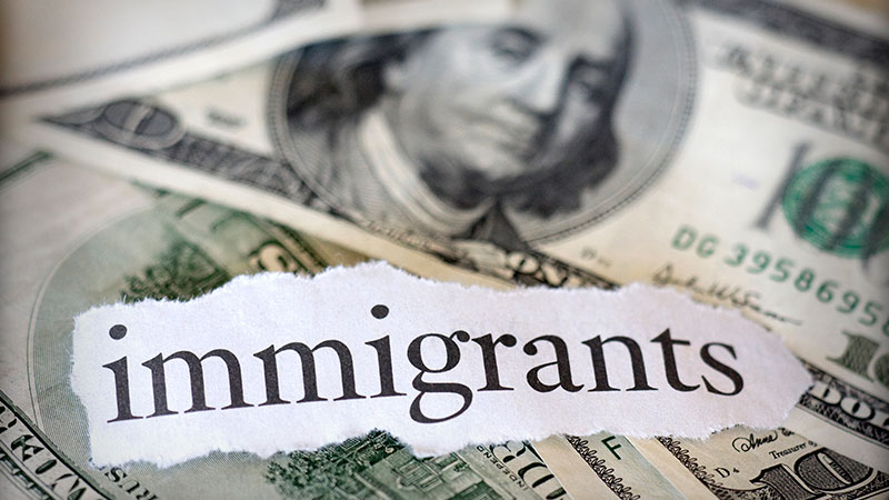 Hundred-dollar bills with the word 'immigrants.'