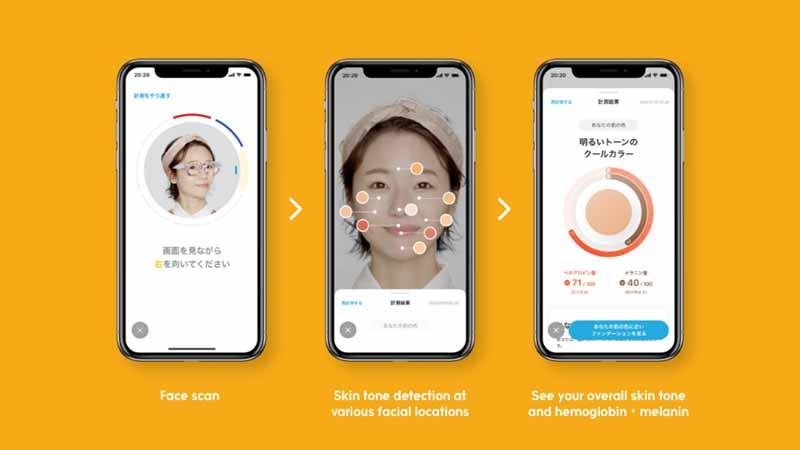 ZOZOGLASS skin tone match technology shown on a smartphone.