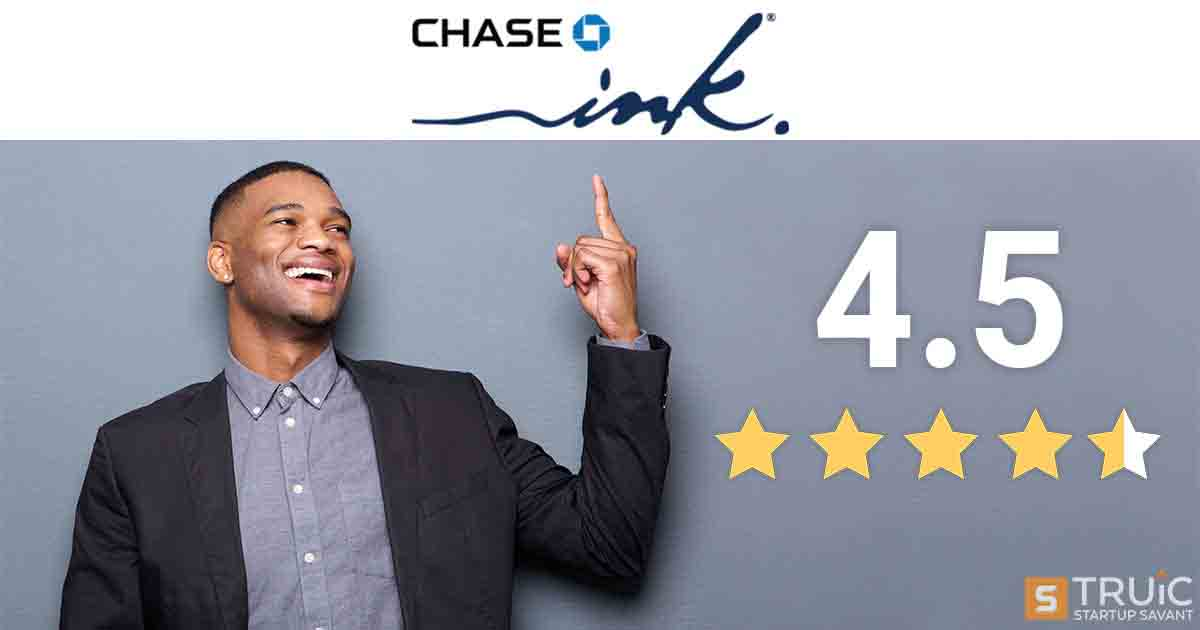 "Smiling man next to a graphic that shows ""4.5 Star Review for Chase Credit Card"""