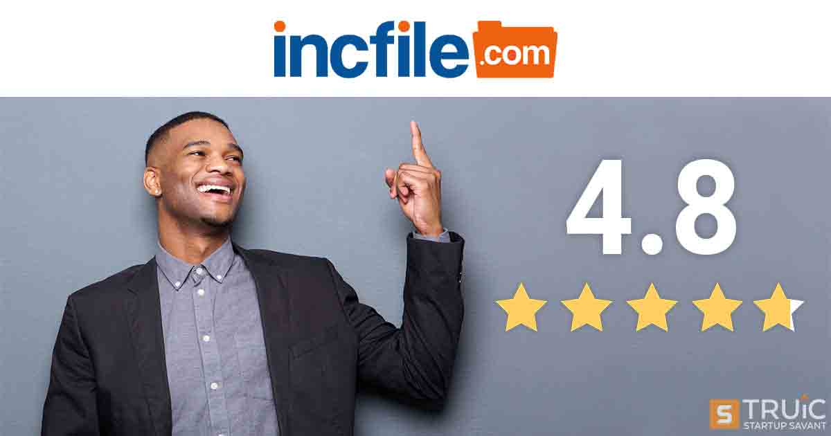 Man pointing to incfile's logo with a 4.8 star rating.