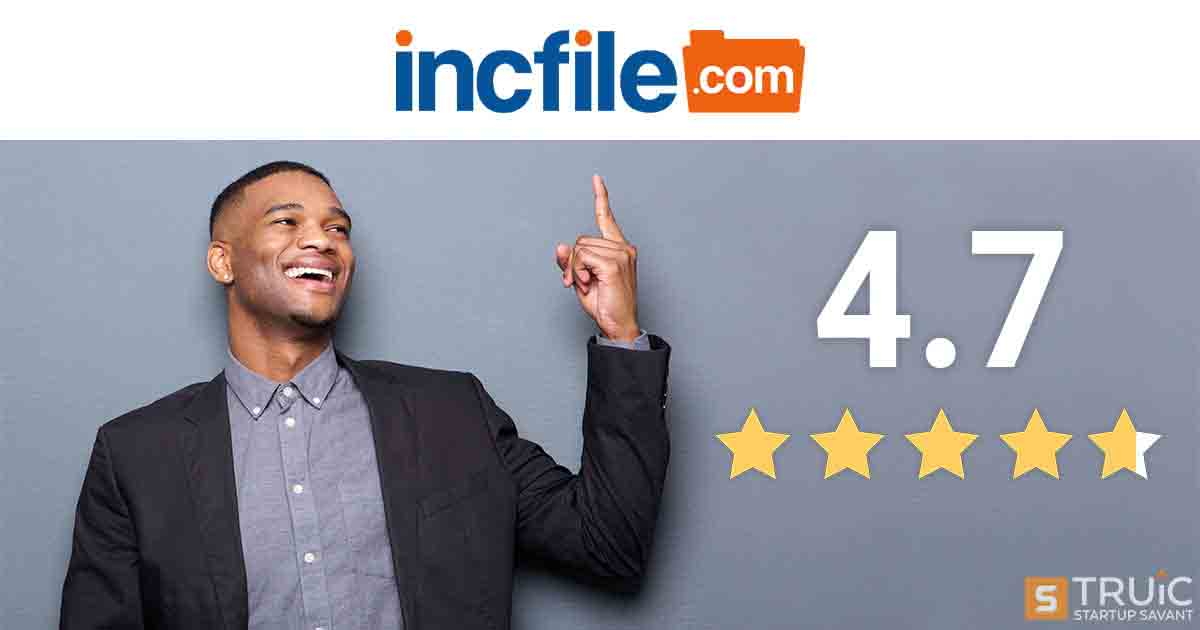 Man pointing to the incfile logo with a review of 4.7 stars.