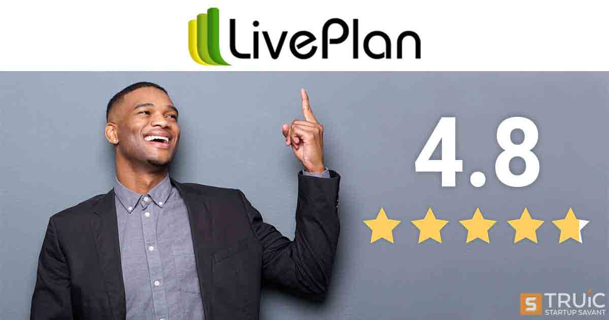 LivePlan logo with 4.8 stars.