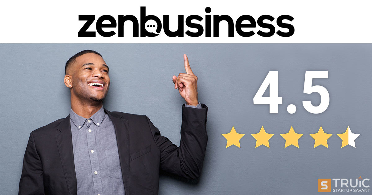 Man pointing at Zenbusiness' logo with a 4.7 star rating.