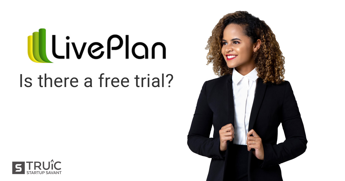 A business woman looking at the Live Plan logo.