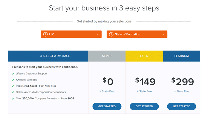 Screenshot of Incfile's pricing table