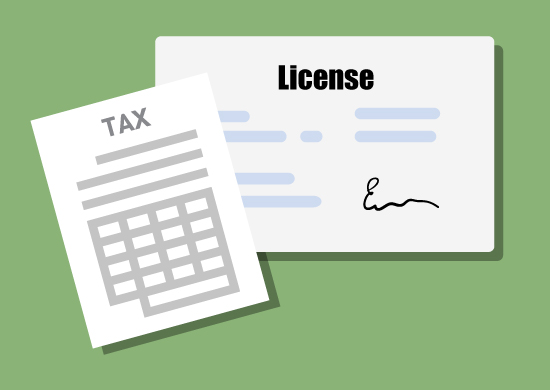 Image of license and tax forms.