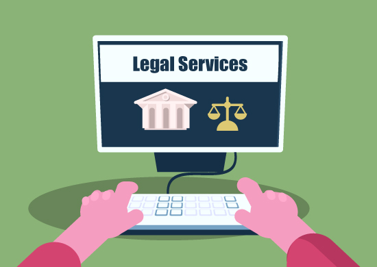 Computer with browser that shows legal services.