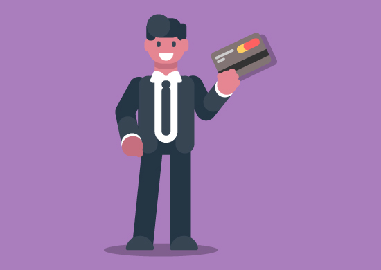Man holding a business credit card.