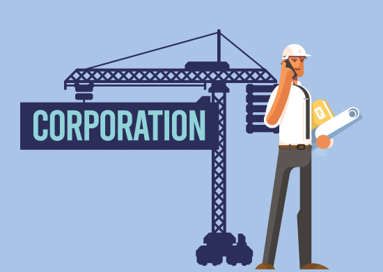 Man forming a corporation.