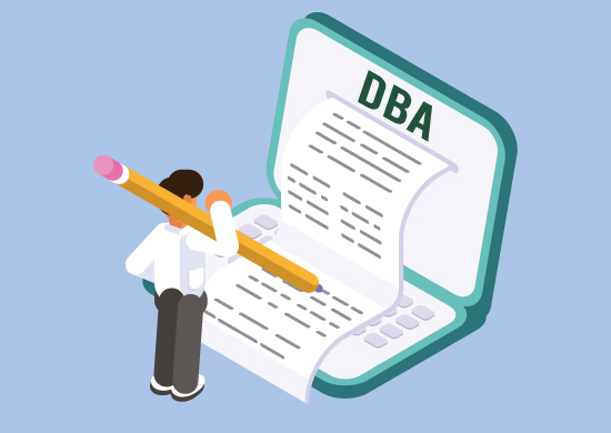 Man filing a DBA form.
