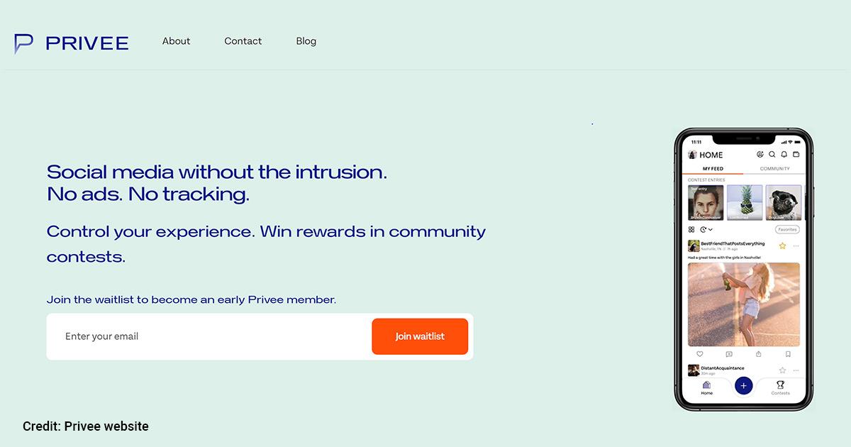 Privee website screenshot.