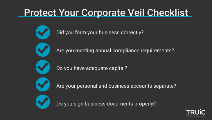 A checklist showing how to protect the corporate veil