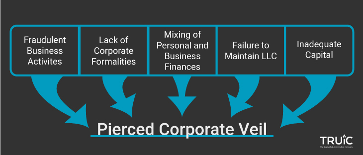 A table showing how a corporate veil can be pierced