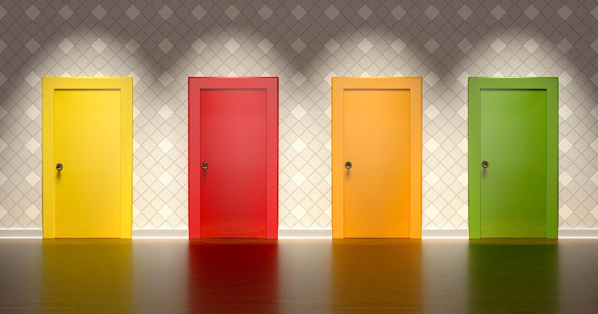 Four closed doors of different colors: yellow, red, orange, and green.