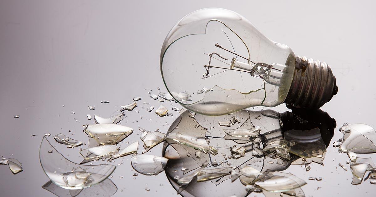 Shattered light bulb.