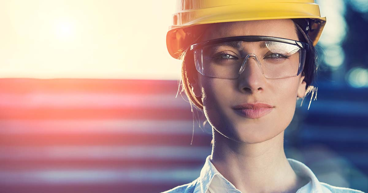 Woman engineer wearing a hard hat.