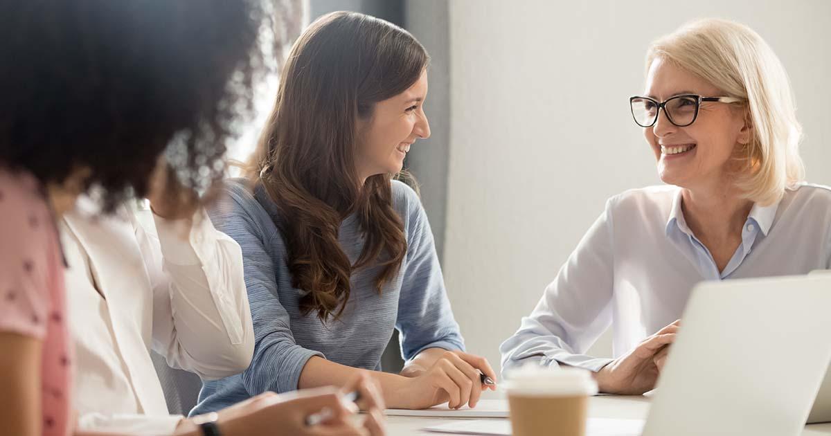 Businesswomen working together.