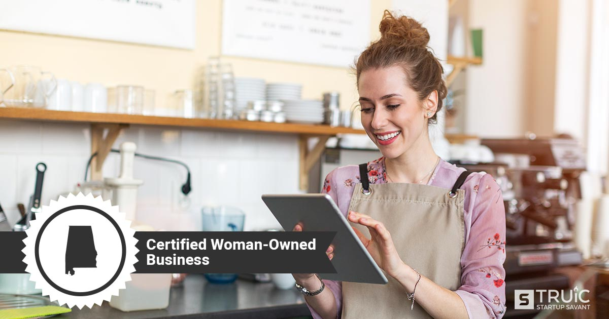 Woman business owner, and text that says, Certified Woman-Owned Business.