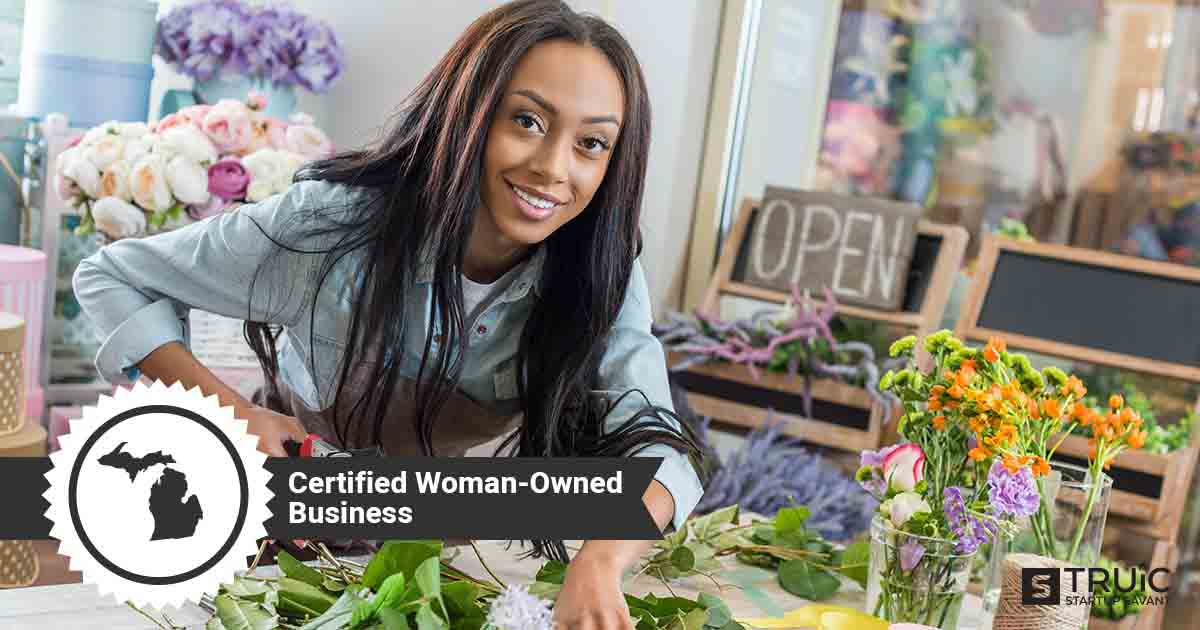 """Woman business owner, and text that says, """"Certified Woman-Owned Business."""""""
