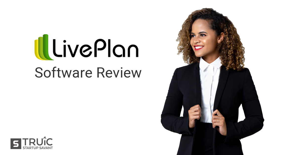 "Businesswoman and LivePlan Logo with text underneath reading, ""Software Review."""