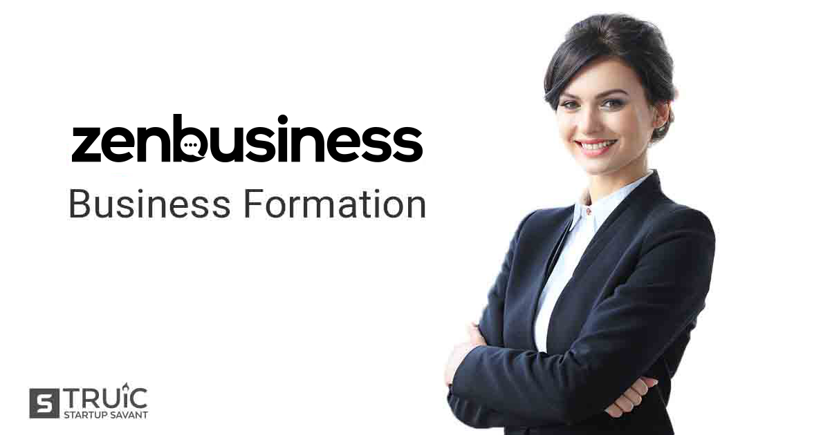 "Businesswoman and ZenBusiness logo with text underneath reading, ""Business Formation."""