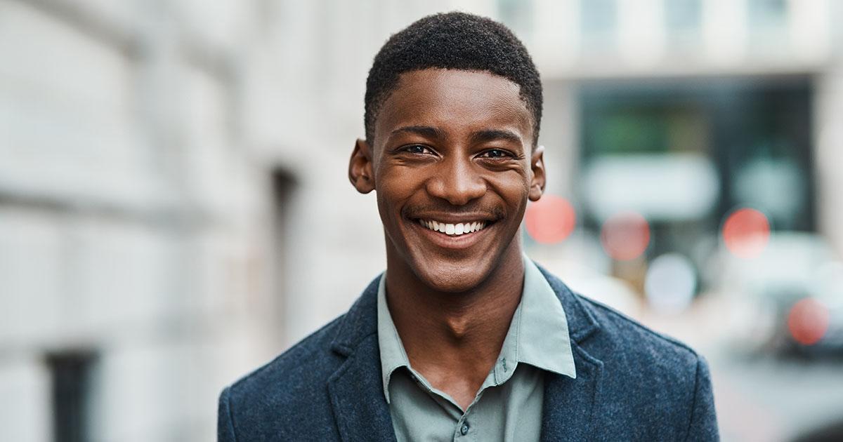 Entrepreneur smiling.