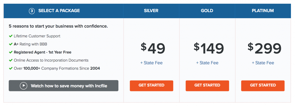Incfile Pricing for LLC