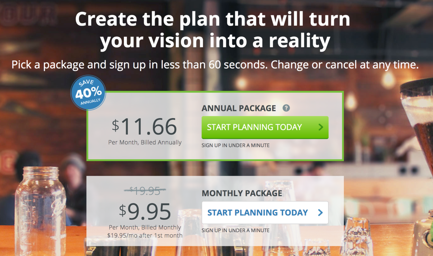 A Liveplan monthly package at $9.95 a month and an annual package at $11.66 per month billed annually