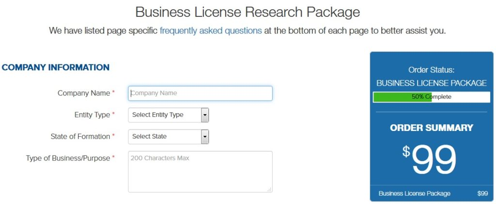 IncFile Business License Pricing