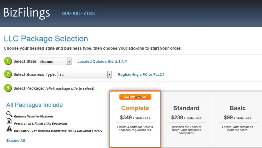 BizFilings New Pricing Table