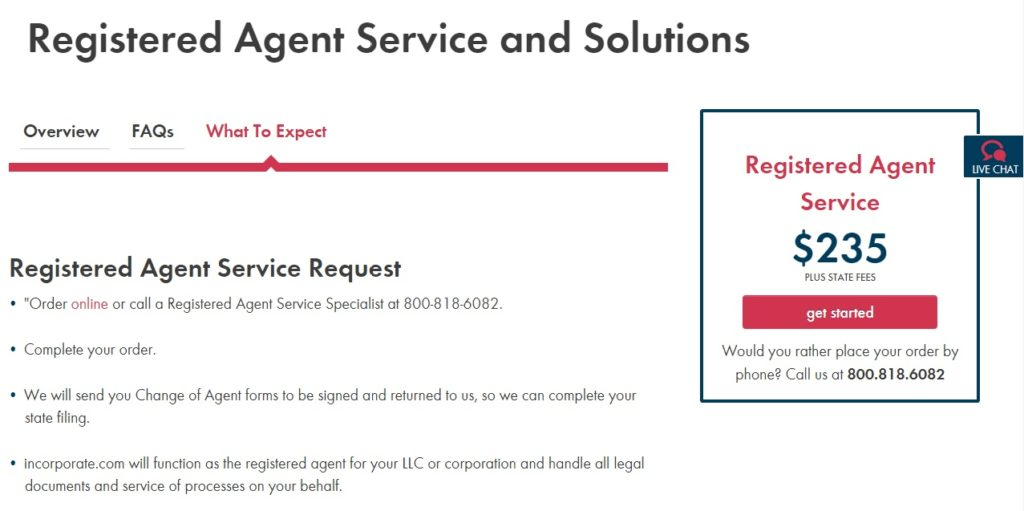 Incorporate.com Registered Agent Pricing & Features
