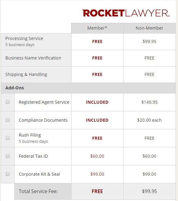 Rocket Lawyer LLC Pricing Package