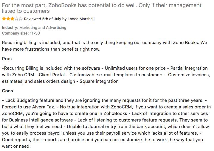 Zohobooks customer reviews 1