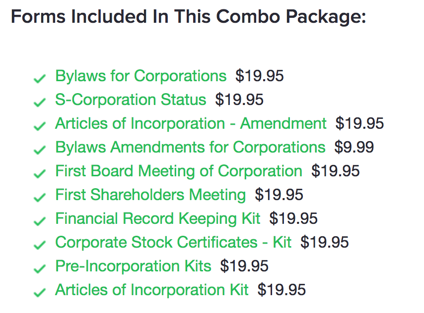 Forms included in the corporation combo package