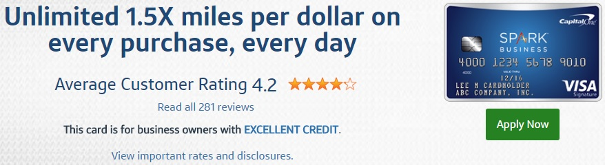 Capital One Spark Miles Select for Business Credit Card Fees & Features