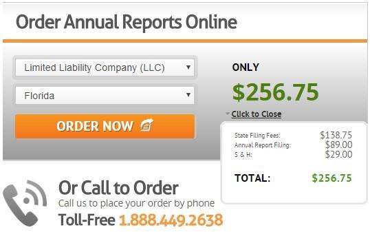 CorpNet Annual Report Pricing